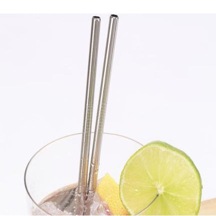 Stainless steel straws, set of 10 with cleaning brush included