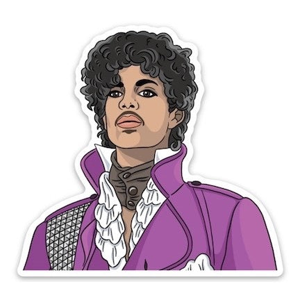 Prince vynil sticker in pruple coat by Found