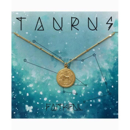 Zodiac necklace gold plate taurus