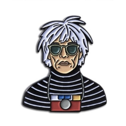 andy warhol with camera  enamel pin
