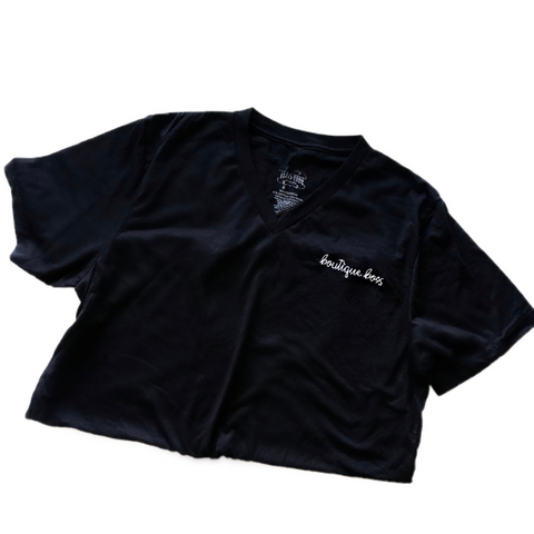 Black Embroidered Tee - The Boutique Hub