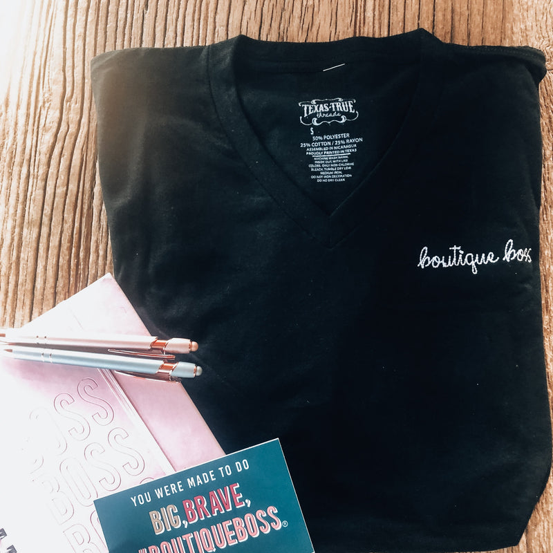Black Embroidered BoutiqueBoss Tee - The Boutique Hub