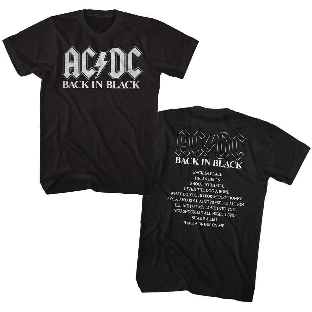 Shirt AC/DC Black in Black Tour Black T-Shirt