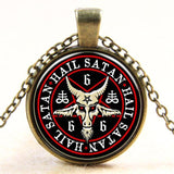 Jewelry Antique Bronze Plated Baphomet Goat Skull Pentagram Necklace