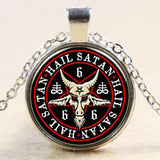 Jewelry Silver Plated Baphomet Goat Skull Pentagram Necklace