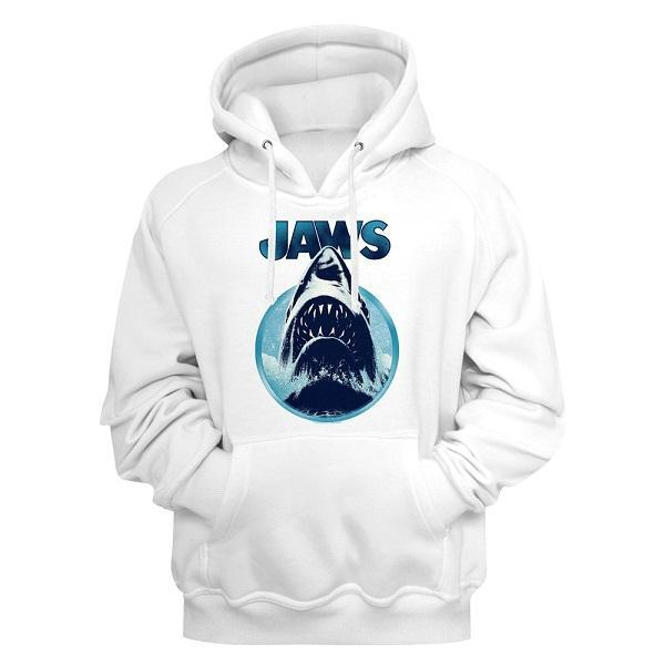 Shirt Jaws White Pullover Hoodie