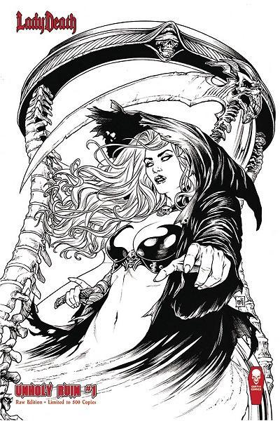 Comic Book Lady Death Unholy Ruin #1 Raw Signed Limited Edition