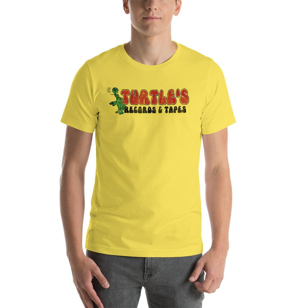 S Turtles Records and Tapes Distressed Logo Yellow T-Shirt