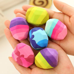 Kawaii Colorful Stone Shape Eraser Geese In Soft Rubber Erasers Irregular Shape Rock Big Pen Eraser Student Stationery Supplies