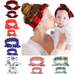 2PC/Set Mom Love Kids Rabbit Ears Hair Band Ornaments Tie Bow Women Headband Stretch Knot Cotton Head Child Hair Accessories - SmilyDeals
