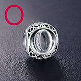 ANFASNI Authentic 925 Sterling Silver Vintage Clear Letter Bead Charms Fit Original Pandora Women Charm Bracelets Silver Jewelry - SmilyDeals