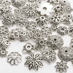 130pcs/lot  Zinc Alloy Antique Silver plated color Bead Caps Fit Jewelry Findings Making End Caps 4-15mm - SmilyDeals