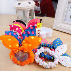 8Pcs/Lot Cute Flower Hair Rope Elastic Rubber Bands Headbands Rabbit Ear Dot Headwear Elastic Hair Band Hair Ties Rope Scrunchy - SmilyDeals