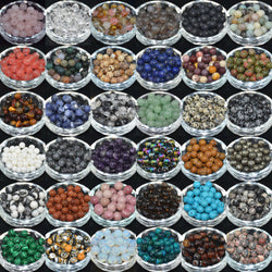 30PCS Natural 6mm  Gemstone Round Spacer Loose Beads 6mm  Assorted Stones  DIY Jewelry Making Spacer Beads
