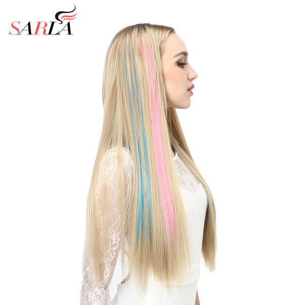 "SARLA 20"" Long Straight Clip In Hair Extensions Synthetic Heat Resistant Highlight Hair Ombre Hair Hairpieces Colorful Extension"