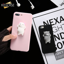 Squishy Phone Case For iPhone 6 6s 7 KISSCASE 3D Cute Cat Soft Silicone Case For iPhone 6 6s 7 Plus 5 5s SE Housing Coque Capa