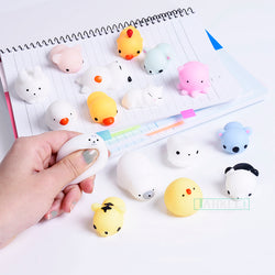 Funny Mini Squeeze Toys Soft Silicone Hand Squishy Animals Cat Kawaii doll Rubber Squish Antistress Joke Rising Toy Xmas Gift - SmilyDeals