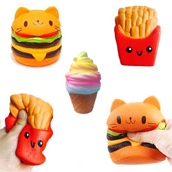 2018 Jumbo Squishy Toys Children Slow Rising Antistrss Toy Cat Hamburger Fries Squishies Stress Relief Toy Funny Kids Gift toy - SmilyDeals