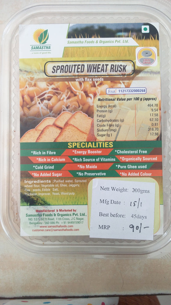Rusk Sprouted Wheat With Flax Seeds 200Gm