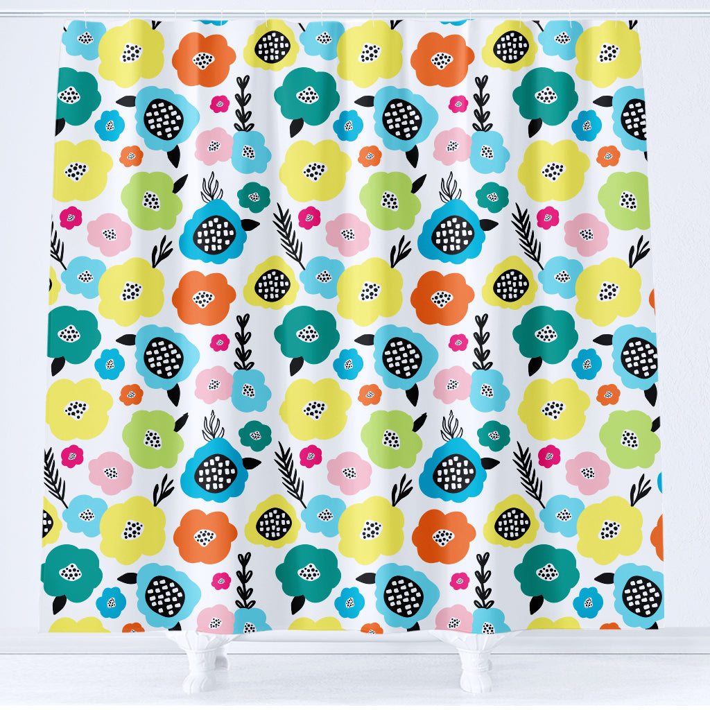 Floral Kids Shower Curtain Hello Sunny Day