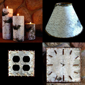 candle holders, birch bark products, lampshades, switch covers, clocks,