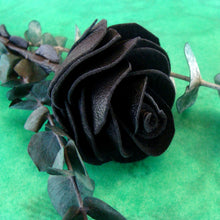 Hand-crafted black leather roses