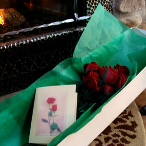 Leather roses in box