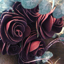 Hand-crafted purple leather roses