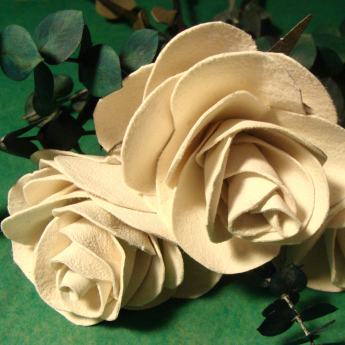 Hand-crafted white leather anniversary roses