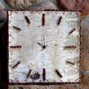 Real birch bark and willow stick clock