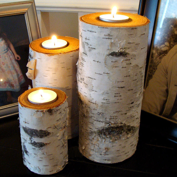 Real rustic birch log tealight candle holder set of three.