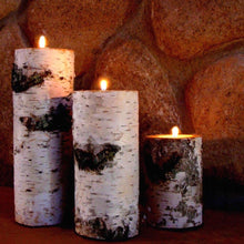 REAL BIRCH LOG TEA-LIGHT CANDLE HOLDER SET (3) IN GIFT BOX NO NEED TO WRAP.