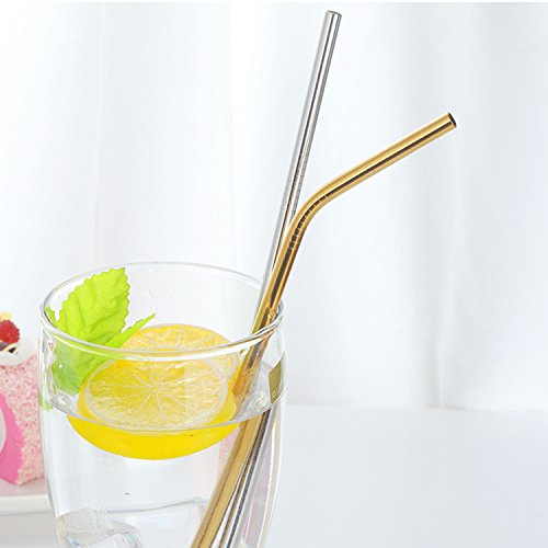 Stainless Steel Drinking Straws (Gold, Angle)