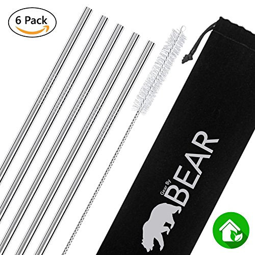 Stainless Steel Drinking Straws (Silver, Straight)