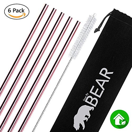 Stainless Steel Drinking Straws (Rose Gold, Straight)