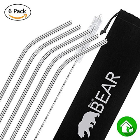 Stainless Steel Drinking Straws (Silver, Angle)