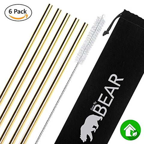 Stainless Steel Drinking Straws (Gold, Straight)