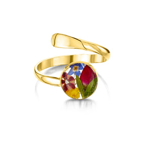 23K Gold plated sterling silver Ring (Adjustable) - Mixed Flowers - Round