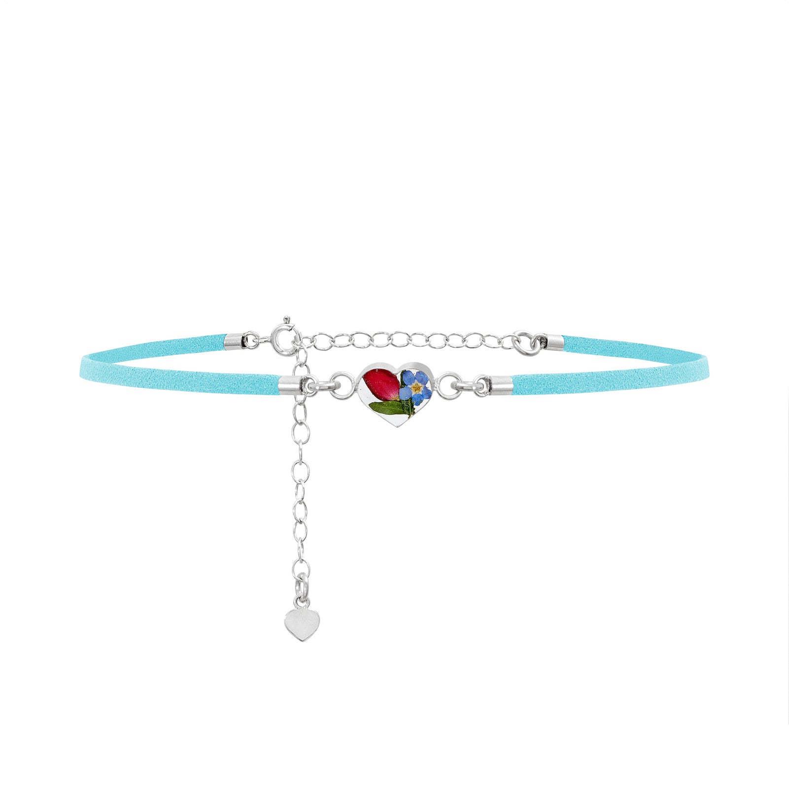 Fashion Choker-Light Blue Strap-Forget-me-not-Heart