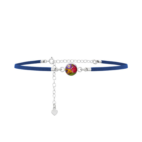 Navy Charm Choker Necklace with real flowers