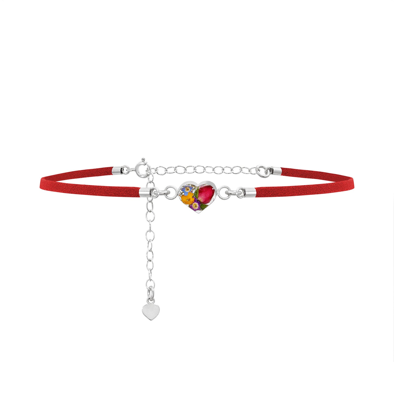 Charm Choker Necklace with real flowers - Red Leather Look - Sterling Silver Chain