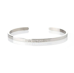 I AM ENOUGH – AFFIRMATION BRACELET – (SILVER)