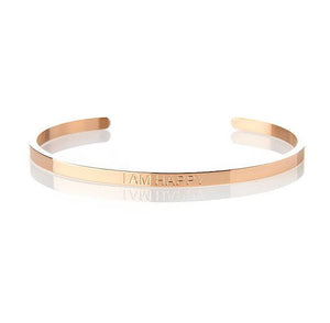 I AM HAPPY – AFFIRMATION BRACELET – (ROSE GOLD)