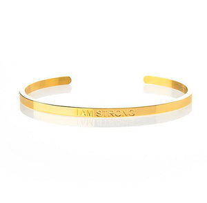 I AM STRONG – STRENGTH AFFIRMATION BRACELET – (GOLD)