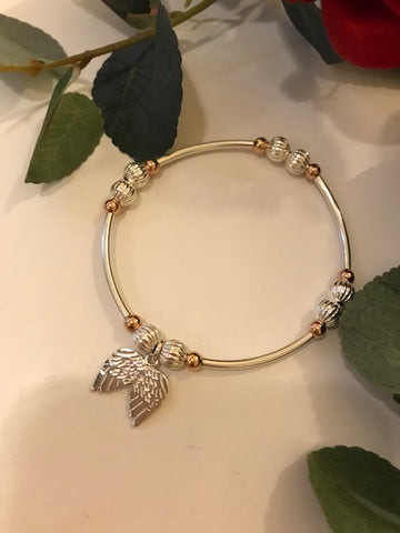 Angel wing noodle bracelet with rose gold beads