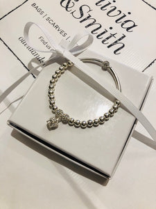 Sterling silver crown noodle bracelet