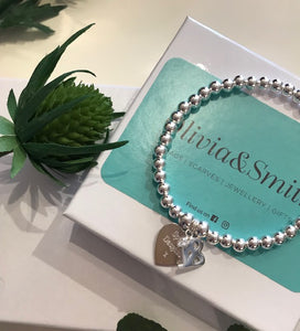 Personalised heart bracelet with 18 diamonte charm