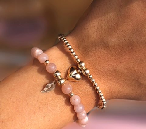 2 bracelet stack of solid heart and leaf charm