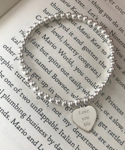 Personalised plain heart bracelet