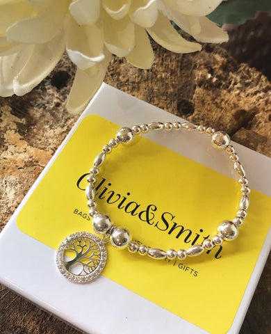 Cubic Zirconia Tree of Life Bracelet